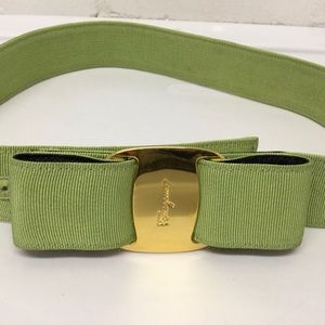 Ferragamo Vera Bow Belt Green Grosgrain Ribbon